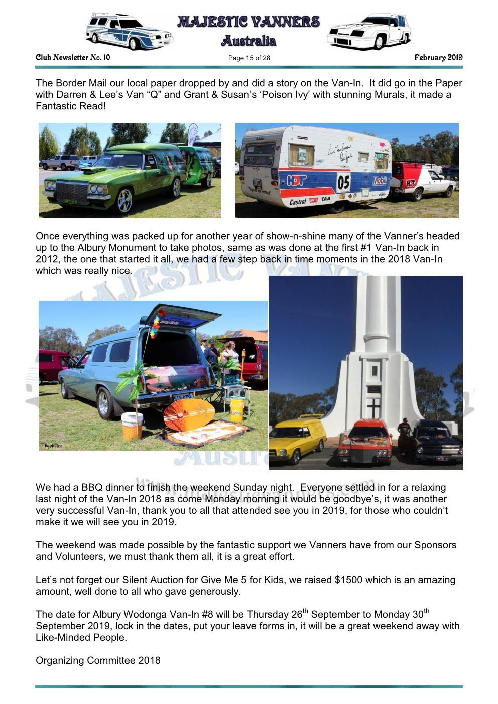 MAJESTIC VANNERS Newsletter Issue No: 10 February 2019 Mv_new23