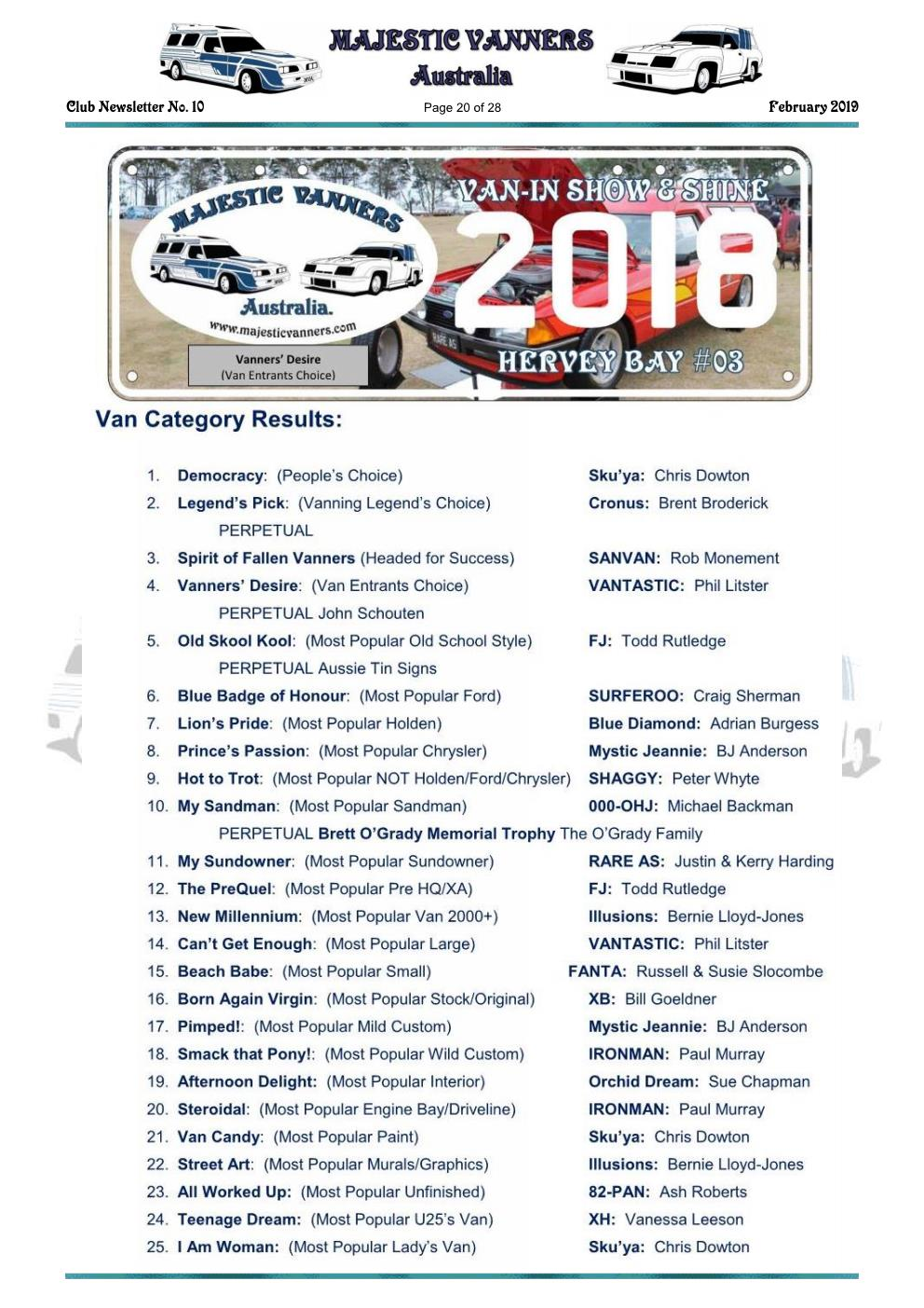 MAJESTIC VANNERS Newsletter Issue No: 10 February 2019 Mv_new30