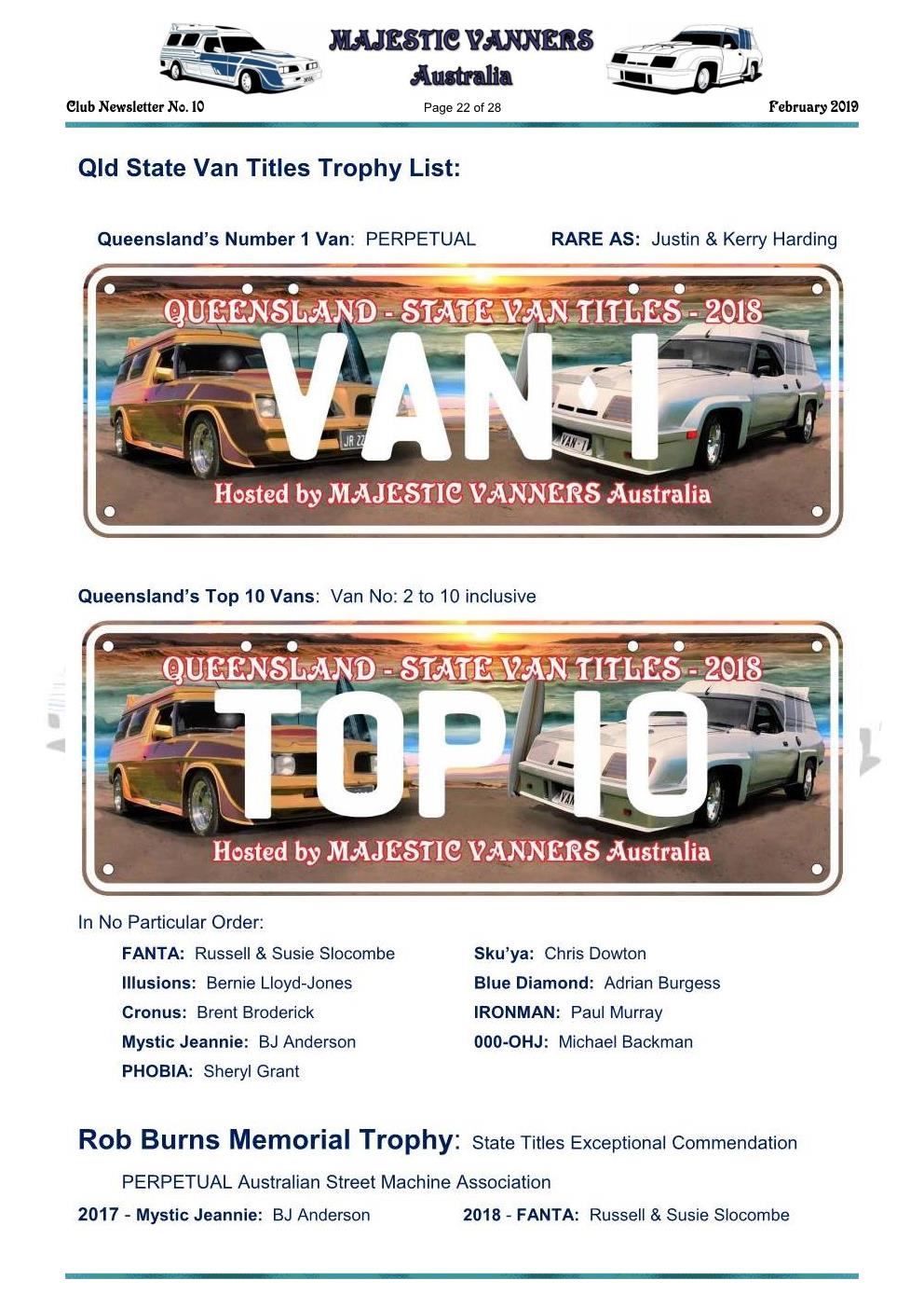 MAJESTIC VANNERS Newsletter Issue No: 10 February 2019 Mv_new31