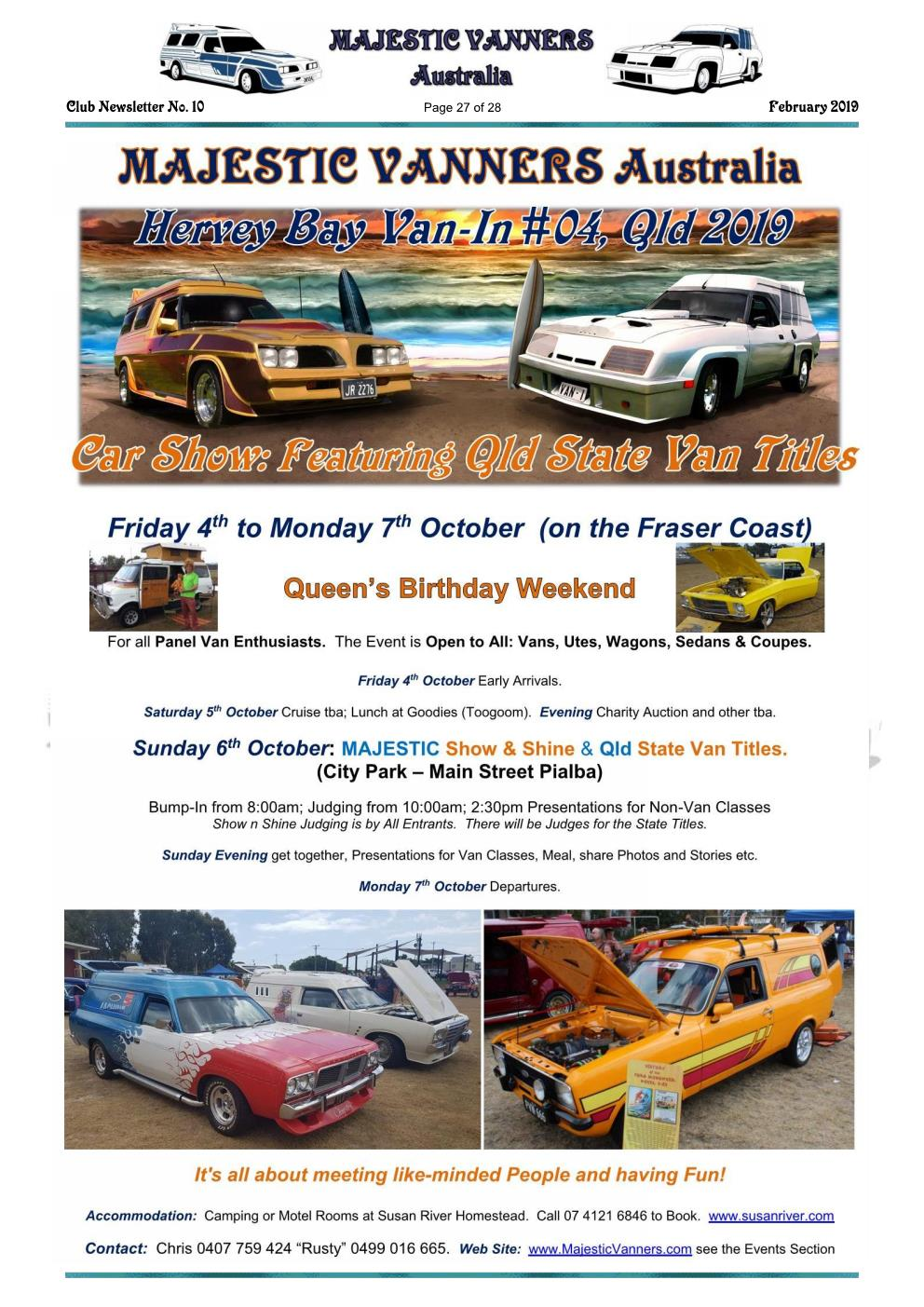 MAJESTIC VANNERS Newsletter Issue No: 10 February 2019 Mv_new36