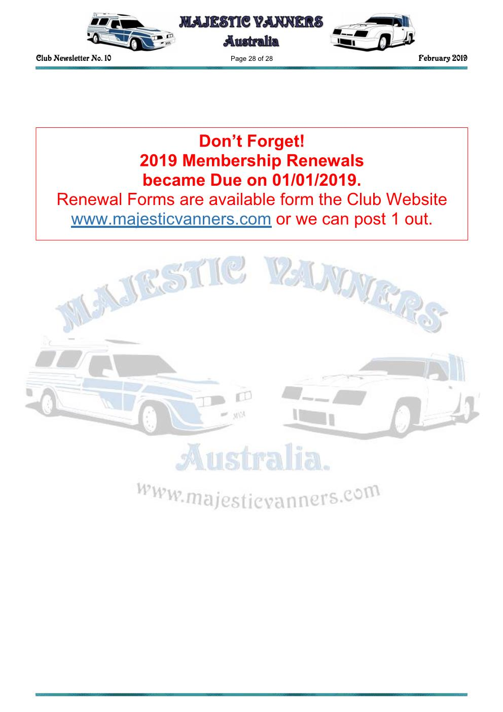MAJESTIC VANNERS Newsletter Issue No: 10 February 2019 Mv_new37