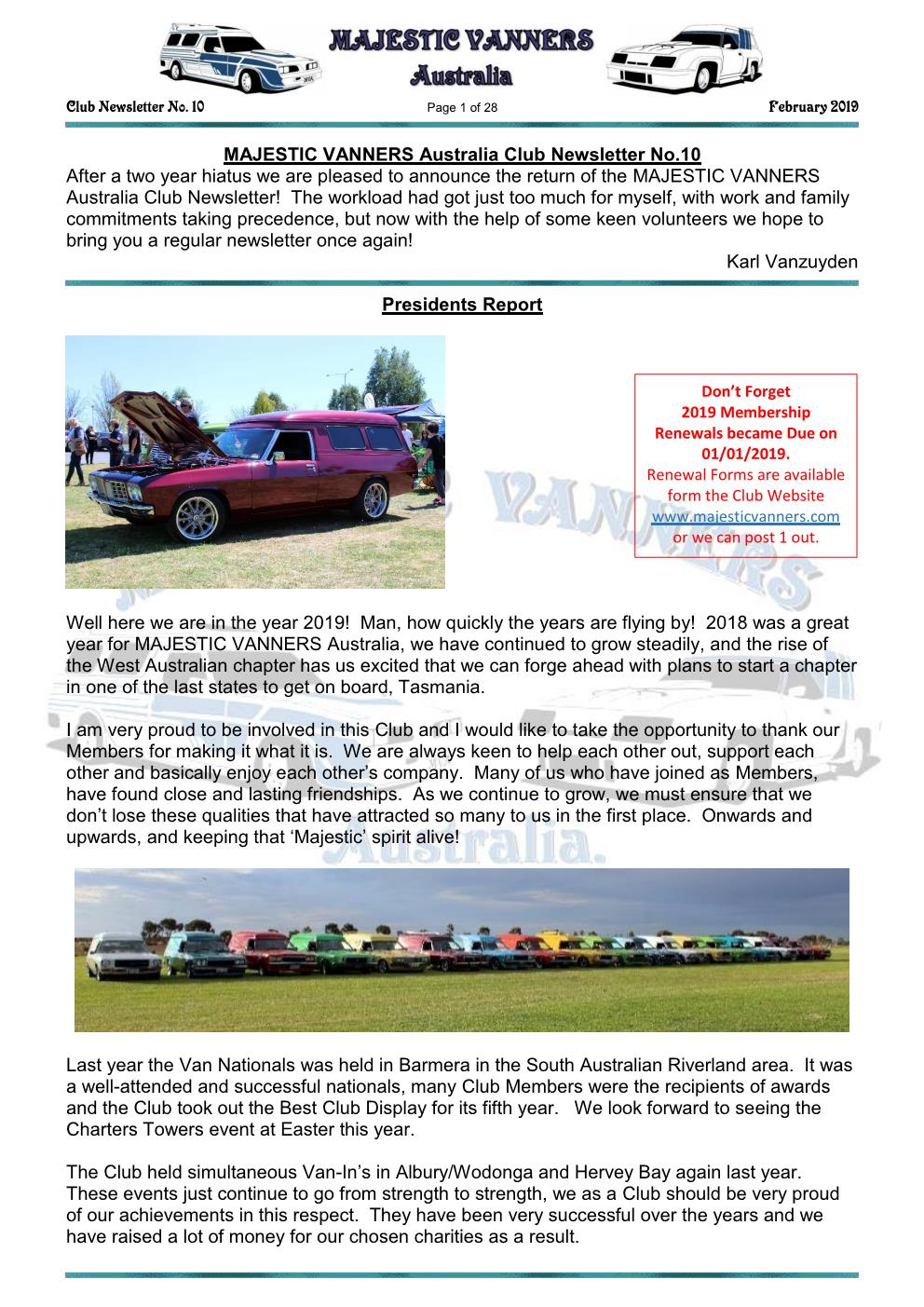 MAJESTIC VANNERS Newsletter Issue No: 10 February 2019 Mv_new38