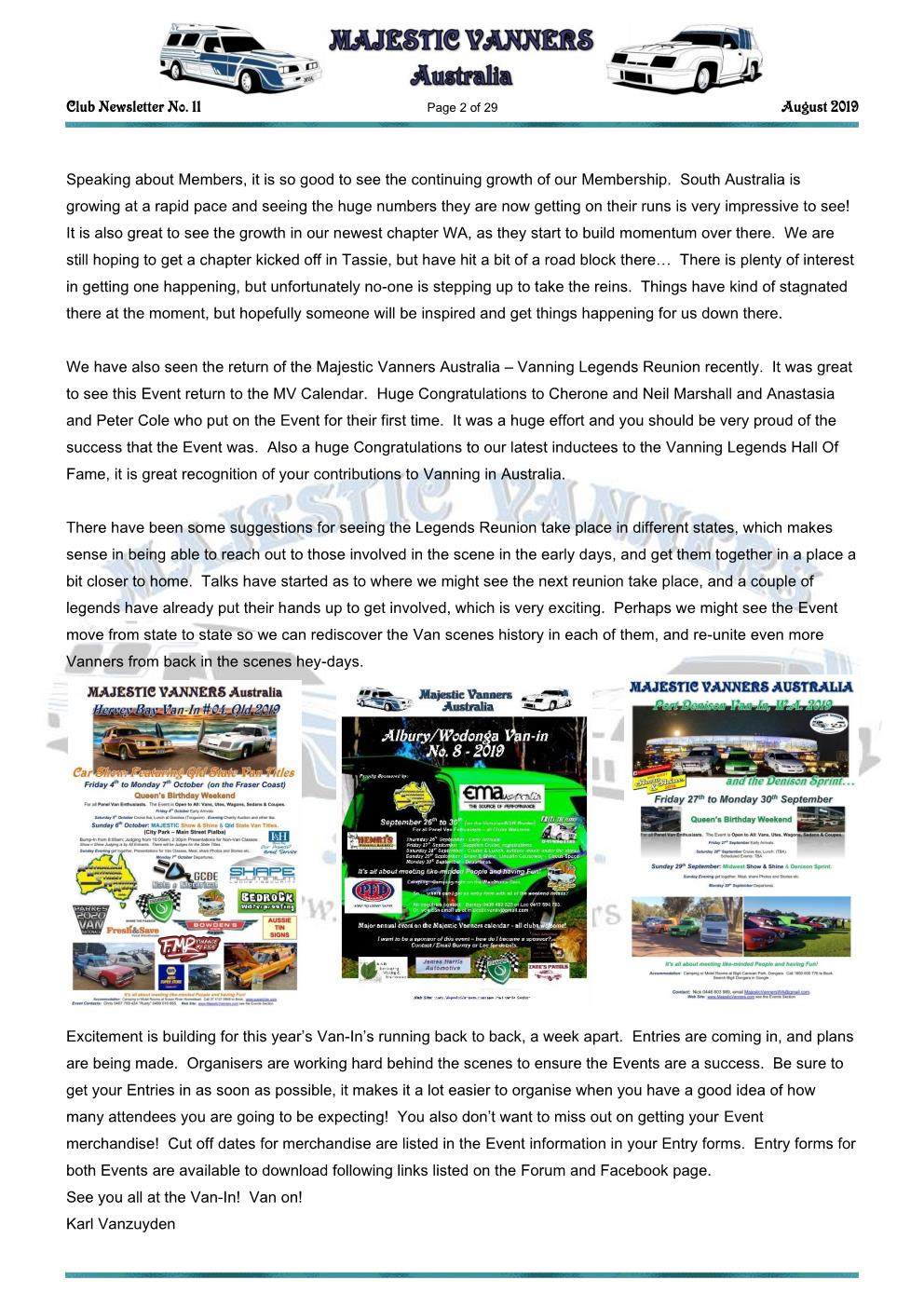 MAJESTIC VANNERS Newsletter Issue No: 11 August 2019 Mv_new40