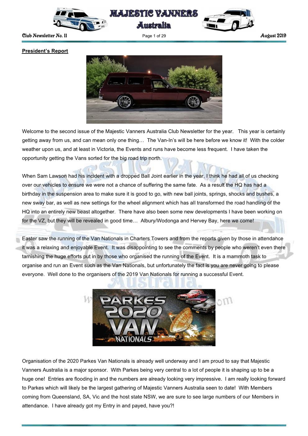 MAJESTIC VANNERS Newsletter Issue No: 11 August 2019 Mv_new41