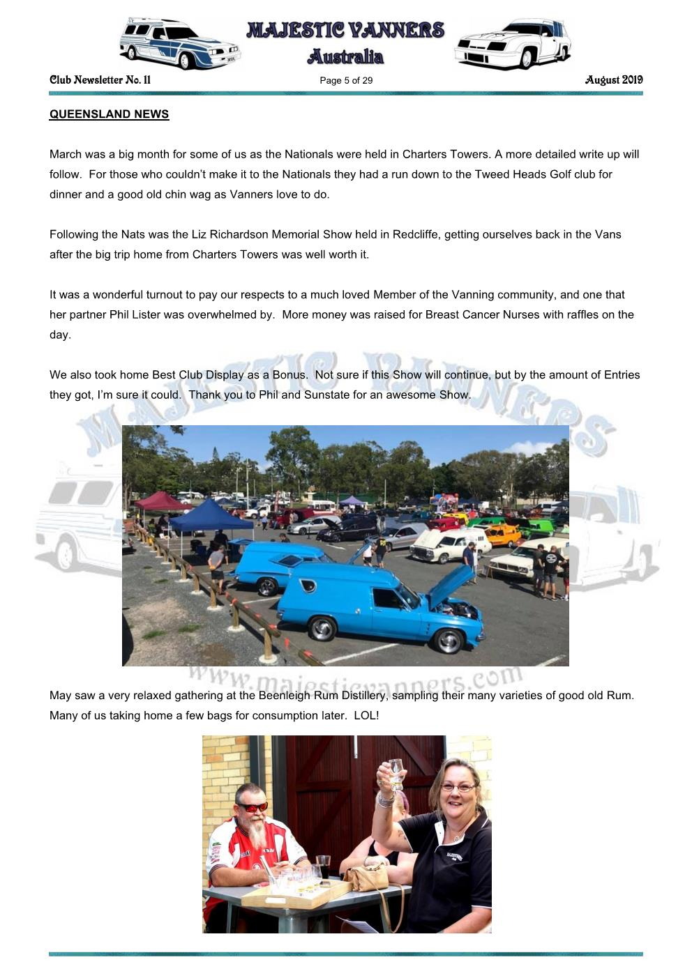 MAJESTIC VANNERS Newsletter Issue No: 11 August 2019 Mv_new43