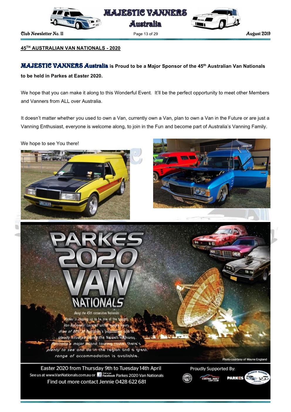 MAJESTIC VANNERS Newsletter Issue No: 11 August 2019 Mv_new52