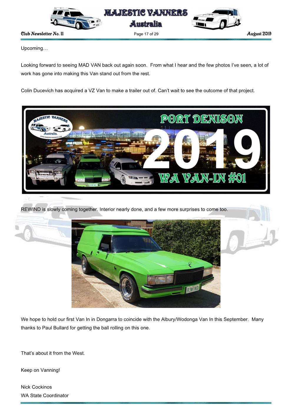 MAJESTIC VANNERS Newsletter Issue No: 11 August 2019 Mv_new54