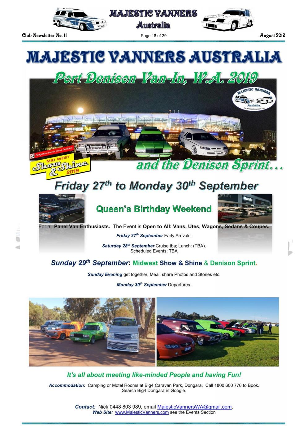 MAJESTIC VANNERS Newsletter Issue No: 11 August 2019 Mv_new56