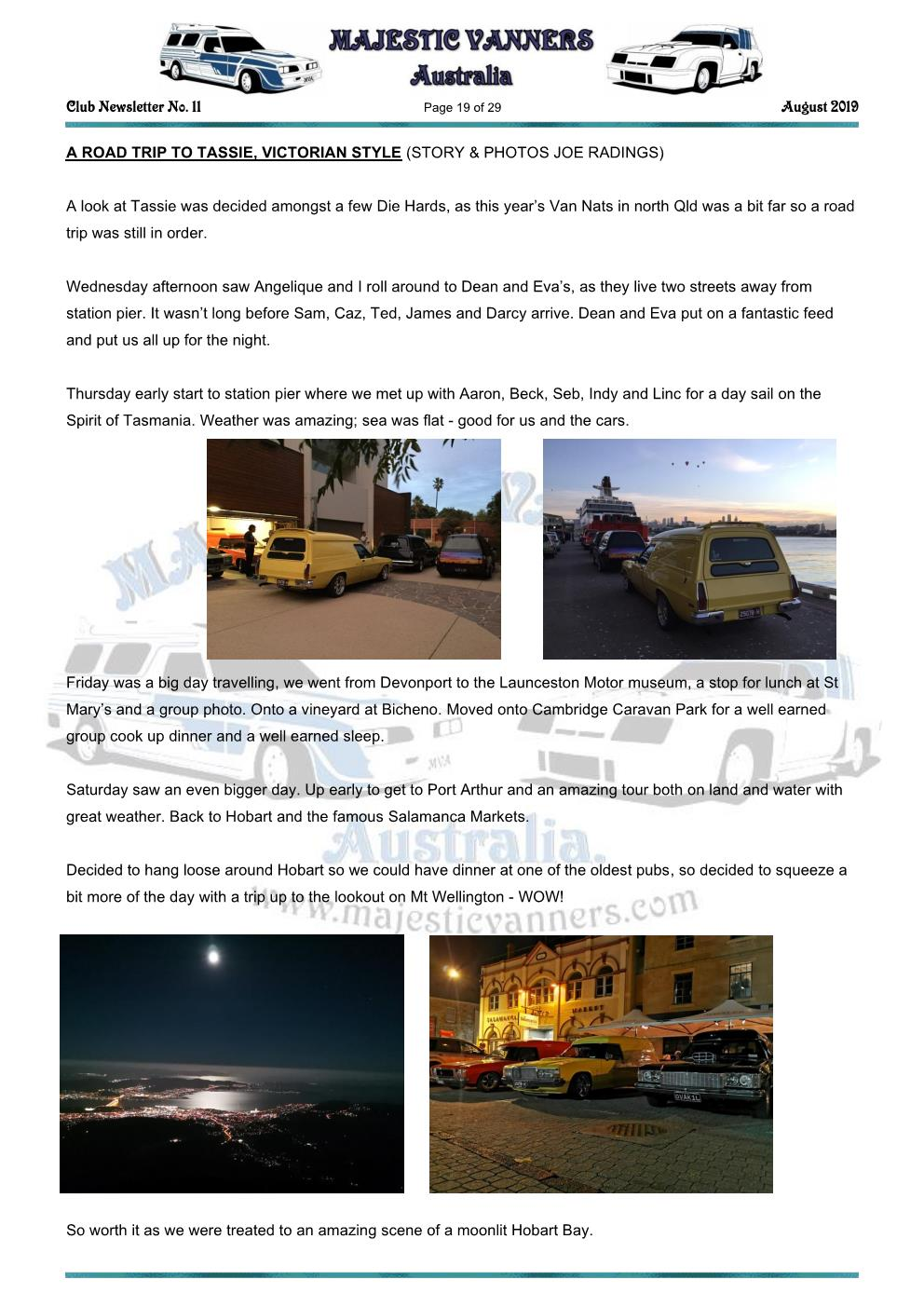 MAJESTIC VANNERS Newsletter Issue No: 11 August 2019 Mv_new57