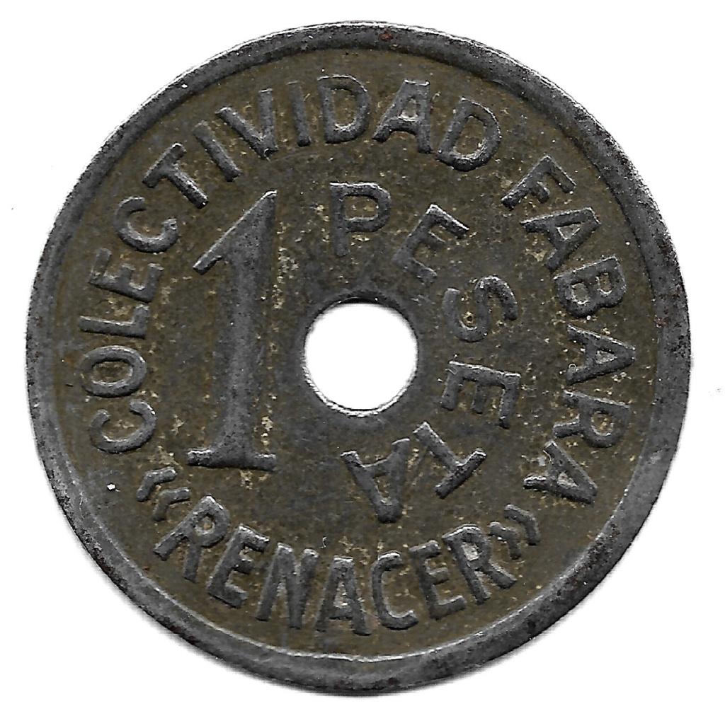"""1 peseta. Colectividad """"Renacer"""" Fabara. Guerra Civil Española Fabara11"""