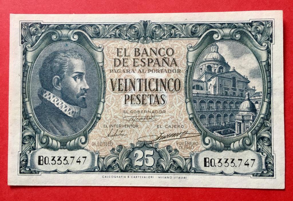 25 Pesetas 9 de Enero de 1940  Juan de Herrera 2372ed10