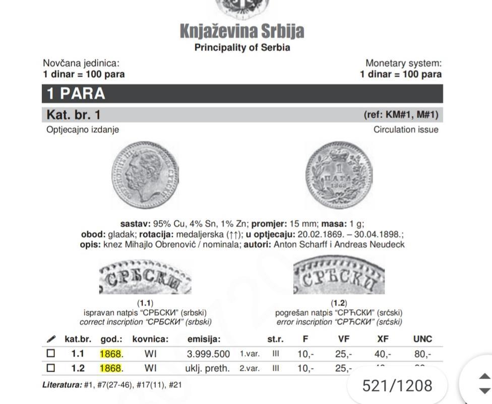 PRINCIPADO DE SERBIA 1868 1 PARA 75c30b10