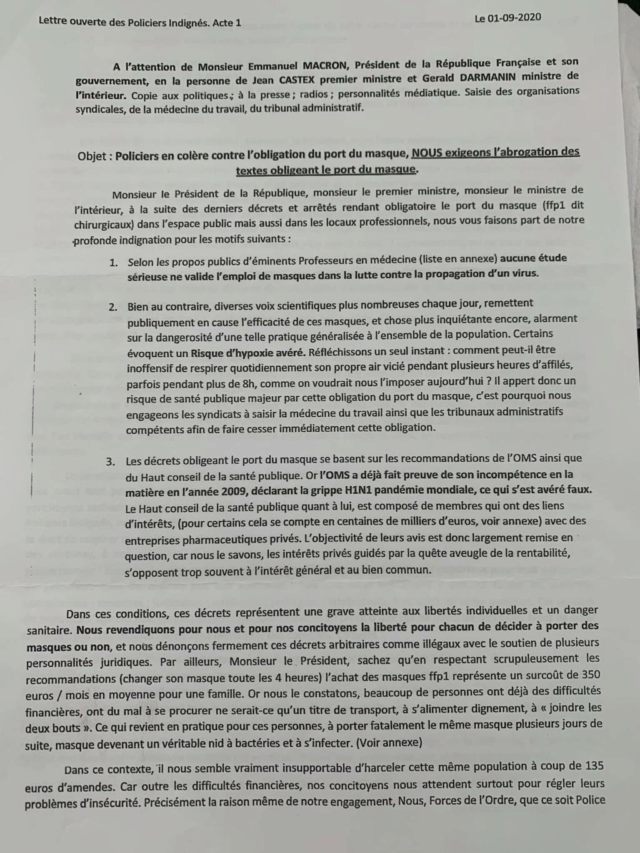 RESPIRER LIBREMENT : ACTION COLLECTIVE relative au PORT du MASQUE Lettre17