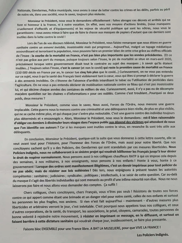 RESPIRER LIBREMENT : ACTION COLLECTIVE relative au PORT du MASQUE Lettre18