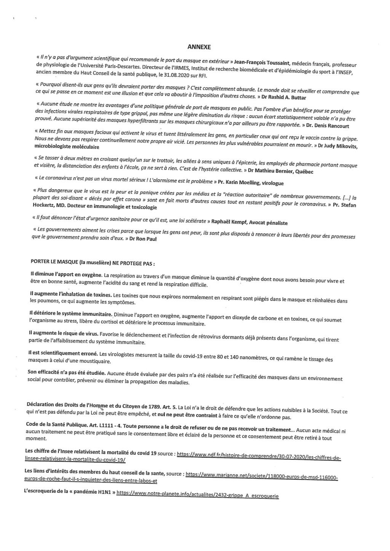 RESPIRER LIBREMENT : ACTION COLLECTIVE relative au PORT du MASQUE Lettre19