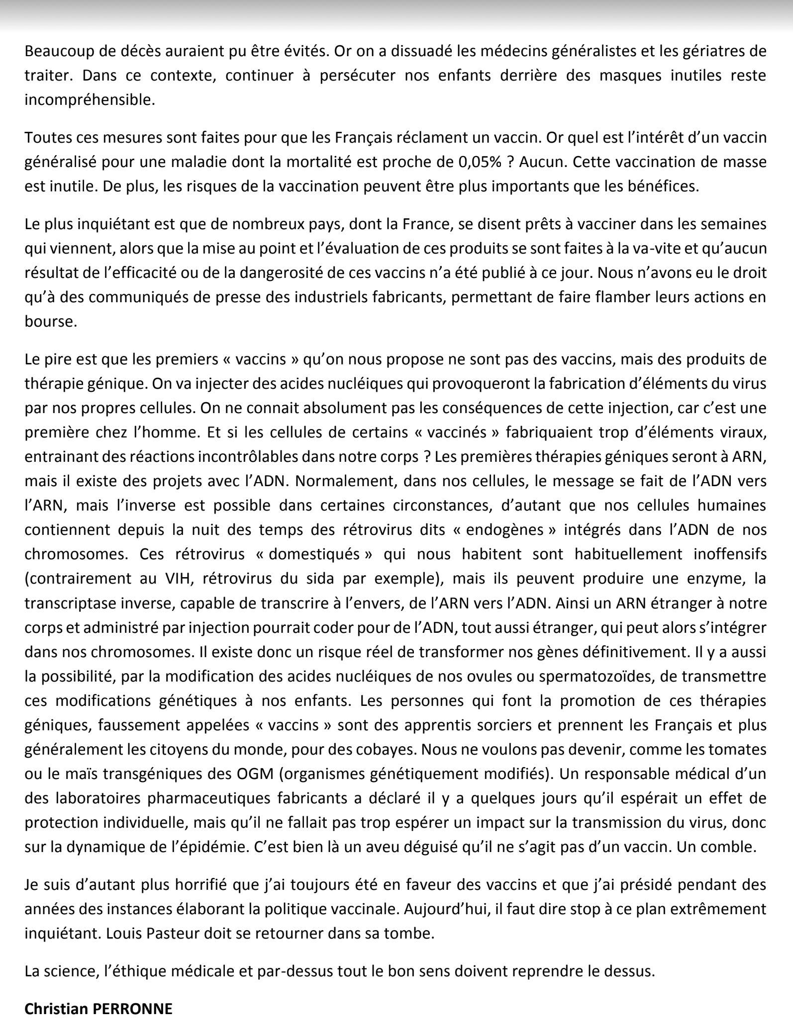 MESSAGE URGENT du Professeur PERRONNE sur les VACCINS ! Perron10