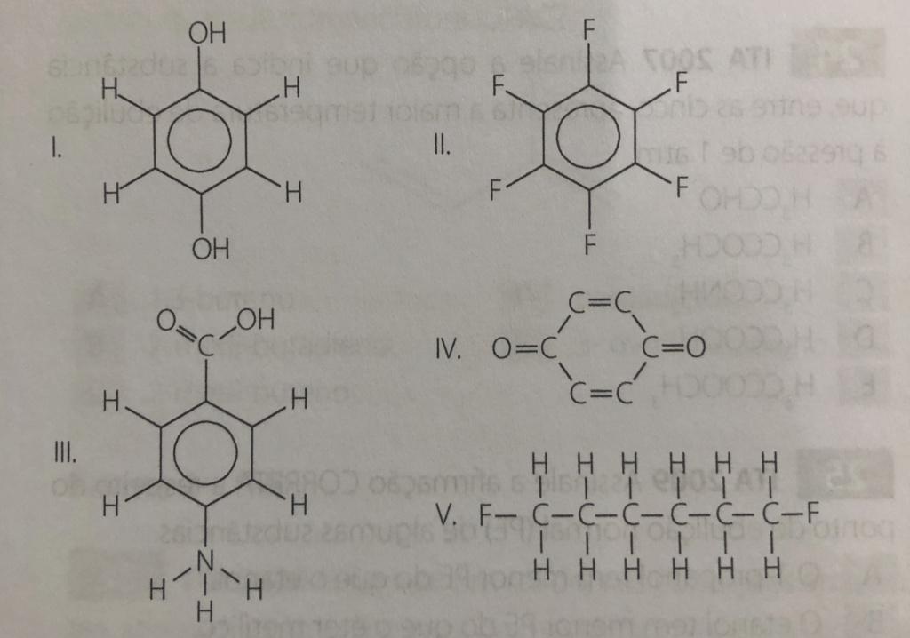 ITA 1998 Qual das substâncias abaixo (I a V) A0d53810