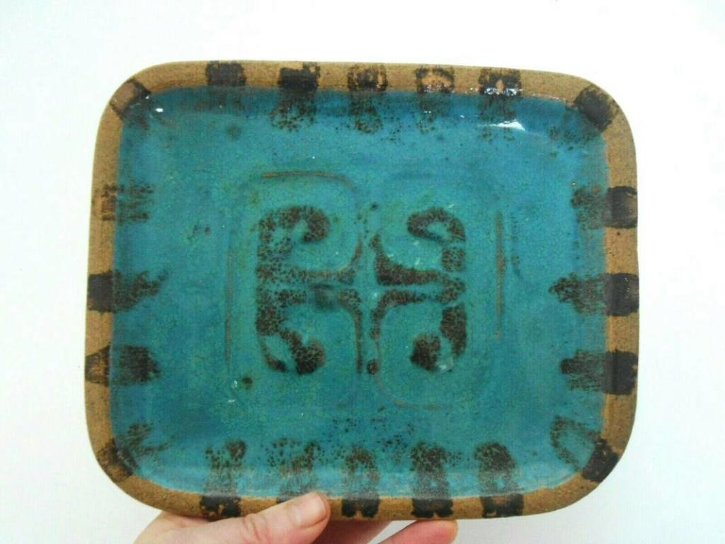 Turquoise stoneware dish signed Fowler _57_2810