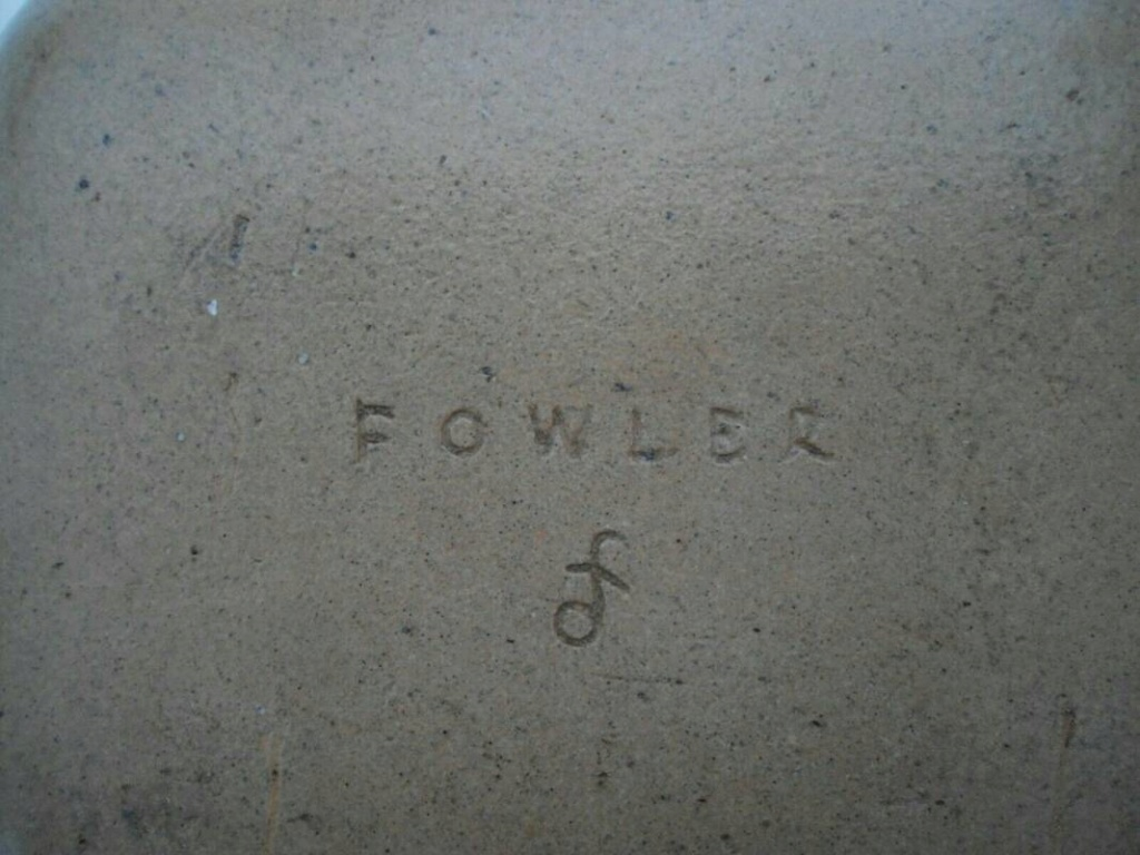Turquoise stoneware dish signed Fowler _57_3010