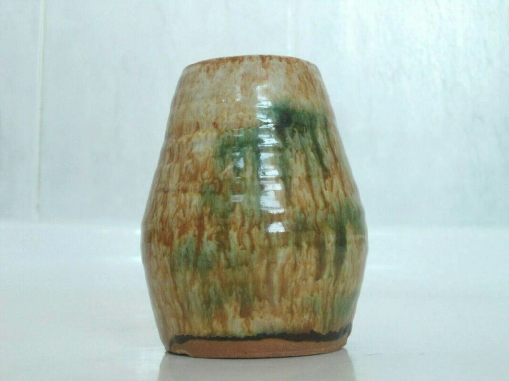 Sancai glaze pottery signed vase  _57_4110