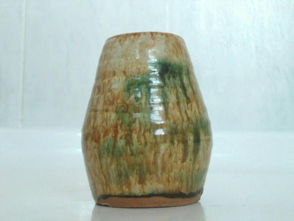 Sancai glaze pottery signed vase  _57_4110