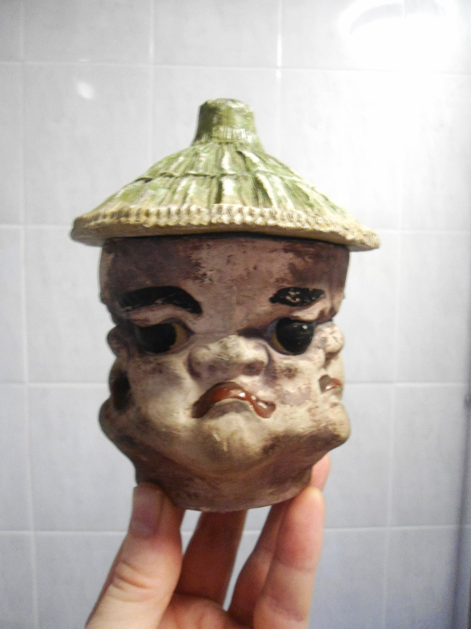grotesque banko ware ? pottery tobacco jar Aviary24