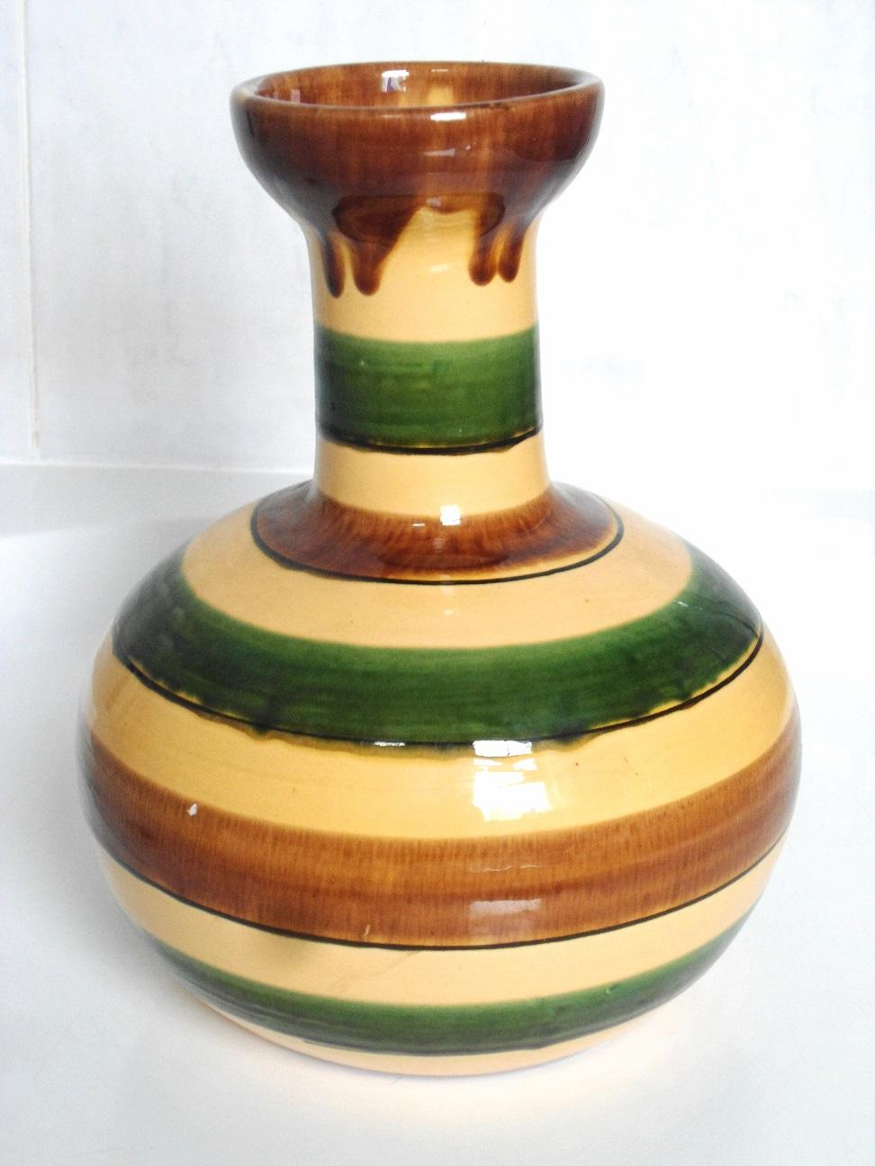 Large striped art pottery vase Aviary32