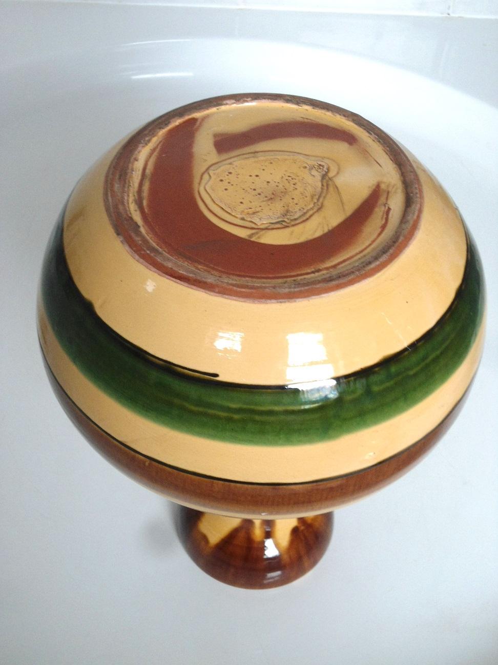 Large striped art pottery vase Aviary33