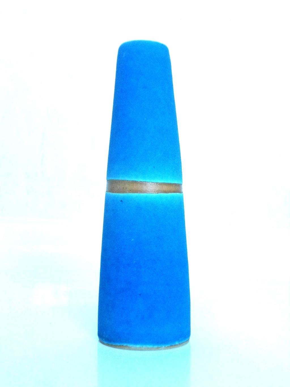 Nice Blue unglazed raku ? Vase Aviary35