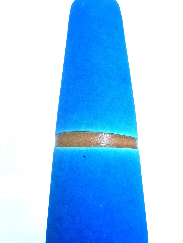 Nice Blue unglazed raku ? Vase Aviary36