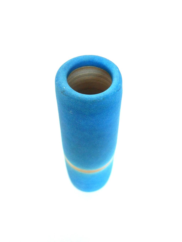 Nice Blue unglazed raku ? Vase Aviary37