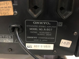 Onkyo A-807 Integrated Amplifier Made In Japan (SOLD) B22f5411