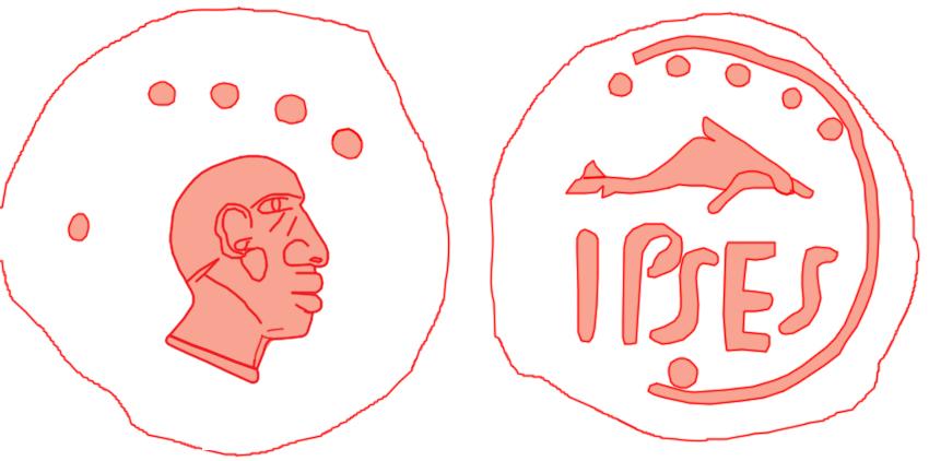 Plomo monetiforme de Ipses Cabeza10