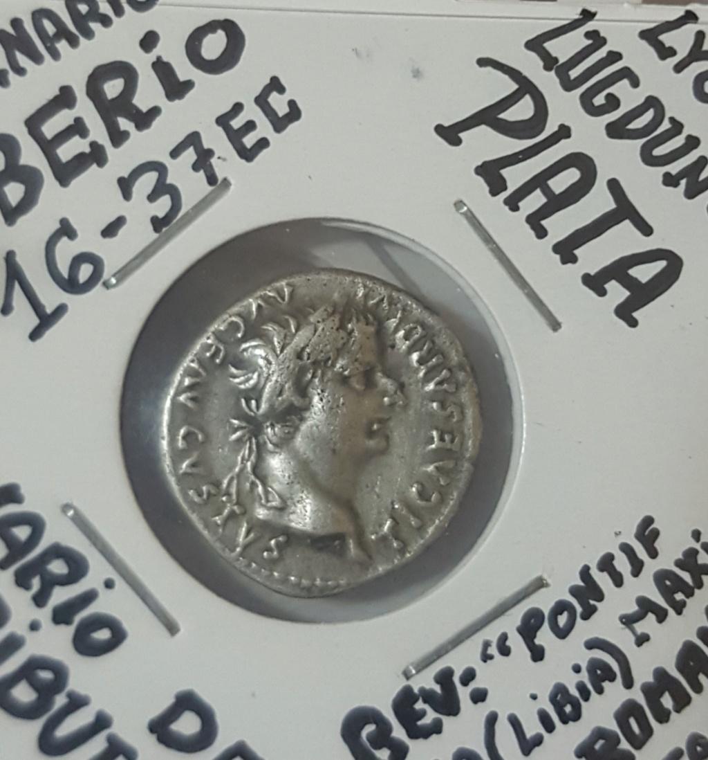 Denario de Tiberio. PONTIF MAXIM. Livia sedente a dcha. Lyon 20200415