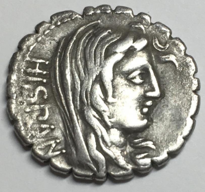 Denario serratus de la gens Postumia. A. – POST. A. F – S. N - ALBIN. Figura masculina togada a izq. Roma. 20202110