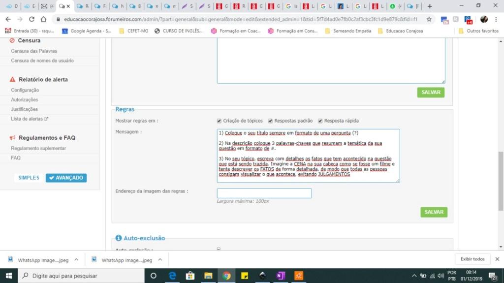 As Regras e a Descrição do Tópico não aparecem na versão Mobile Whatsa12