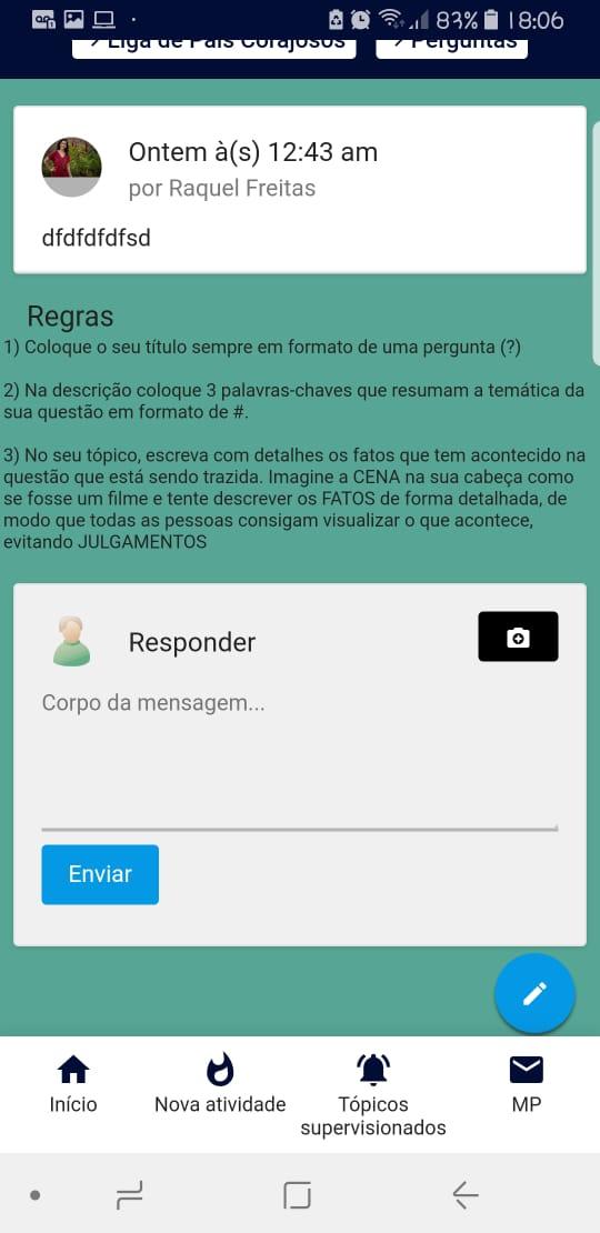 As Regras e a Descrição do Tópico não aparecem na versão Mobile Whatsa18