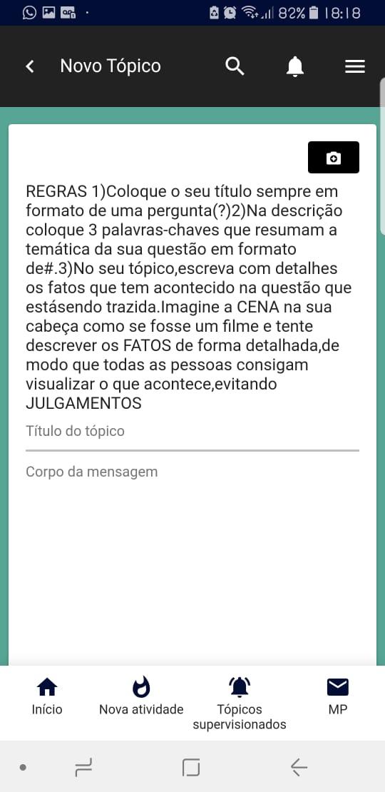 As Regras e a Descrição do Tópico não aparecem na versão Mobile Whatsa20