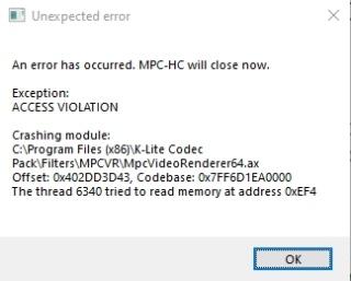 mpc-hc crash Mpc-hc10