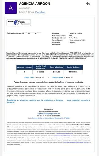 APOYO PARA VALIDAR UNA CARTA CONVENIO ARRGON SERVICIOS MÚLTIPLES  74051410
