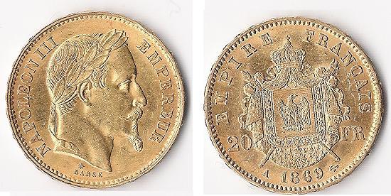 20 francs or Napoleon III Napole10