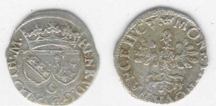 1/2 groschen de plata de Henrique II (Nancy, 1608/24 d.c) Bb10