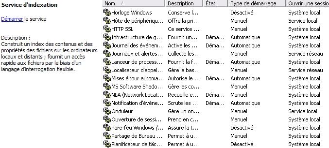 Régler les services Windows 2000, XP et Vista Servic10