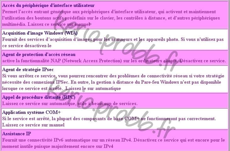 Régler les services Windows 2000, XP et Vista Ssvist11