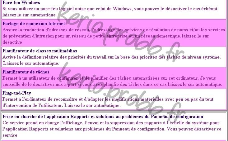 Régler les services Windows 2000, XP et Vista Ssvist20