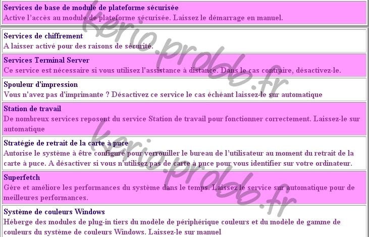 Régler les services Windows 2000, XP et Vista Ssvist26