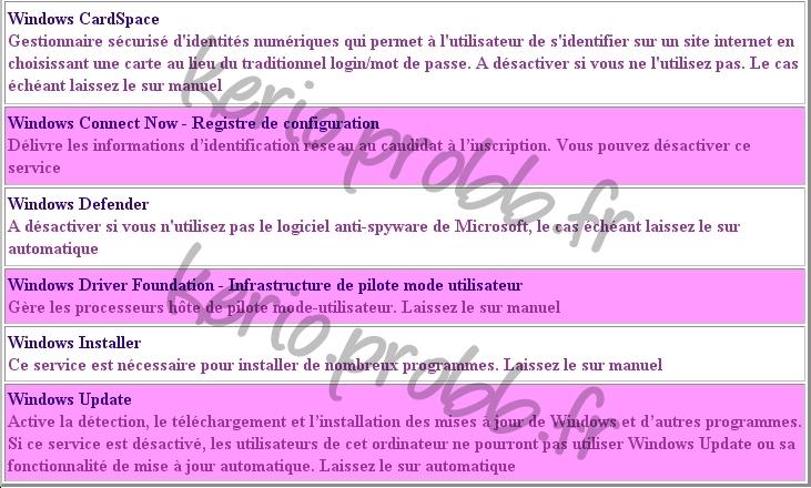 Régler les services Windows 2000, XP et Vista Ssvist28