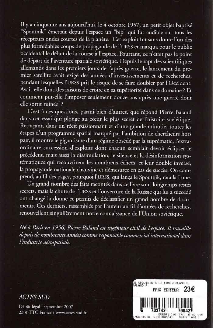 """Livre : """"De Spoutnik à la Lune"""" de Pierre Baland De_spo11"""