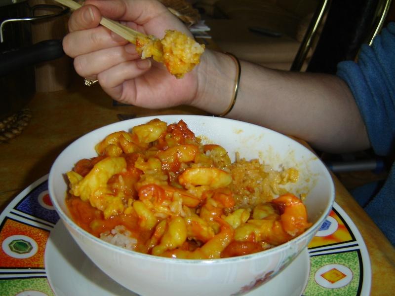 crevettes au Curcuma et riz Dsc01211