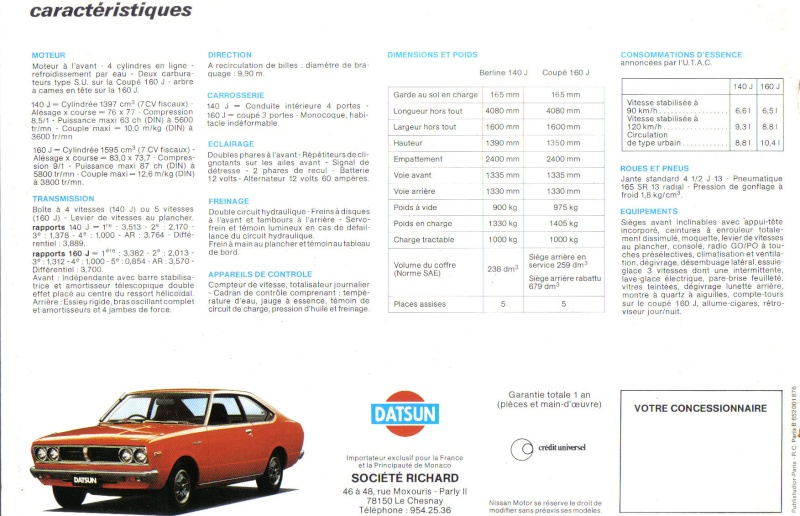 Topic officiel DATSUN VIOLET 140J & 160JSSS type LA10/PA10  1978_p17